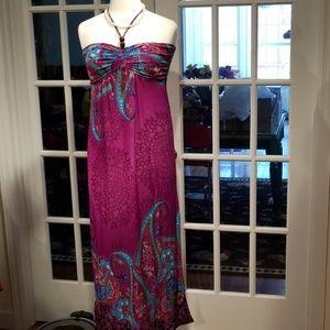 Glam Paisley Gathered Maxi Dress